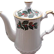 Vintage Clifton Bone China Tea Coffee Pot Holly Berries Pinecones