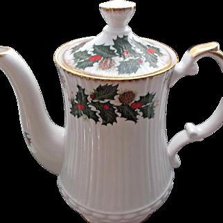 Vintage Clifton Bone China Tea Coffee Pot Holly Berries Pinecones
