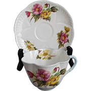 Shelley Begonia Fine Bone China Cup and Saucer Dainty Shape