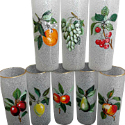 Eight Vintage Tom Collins Glazed Fruit Glasses Cooler Ice Tea Barware Country Kitchen