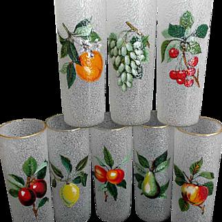 Eight Vintage Tom Collins Glazed Fruit Glasses Cooler Ice Tea Barware Country Kitchen