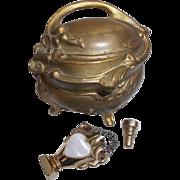 Gilt Ormolu Jewel Casket Ring Box with Vintage Gold Tone Perfume Pendant
