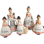 Vintage Enesco Prayer Ladies Set Salt Pepper Toothpick Napkin Spoon Holders