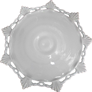 Vintage Footed Milk Glass Cake Plate Salvor Tray Fan Shell and Lacy Edge