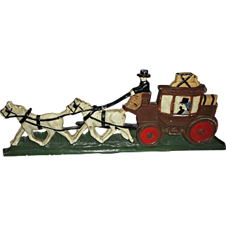 Vintage Cast Iron Horse Drawn Carriage Door Stop Painted