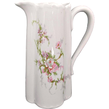 Haviland Limoges Vintage Creamer Milk Pitcher Ewer Pink Purple Floral Sprays