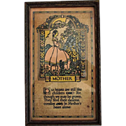 Mother Motto Poem Victorian Style in Vintage Wood Frame