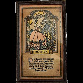 Vintage Wood Framed Mother Motto Poem Victorian Style