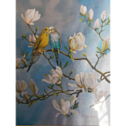 Vintage Dufex Foil Art by F. Osborne Two Parakeets Budgies Yellow Blue