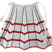 Crocheted Apron Ecru with Red Zig Zag Stripes Vintage
