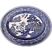 Small Vintage Deep Blue Willow Transfer Serving Plate Platter Nelson Ware