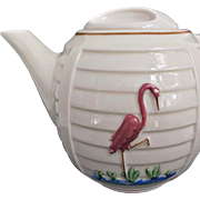 Porcelier Vintage Tea Pot with Pink Flamingo Green Grass Blue Water
