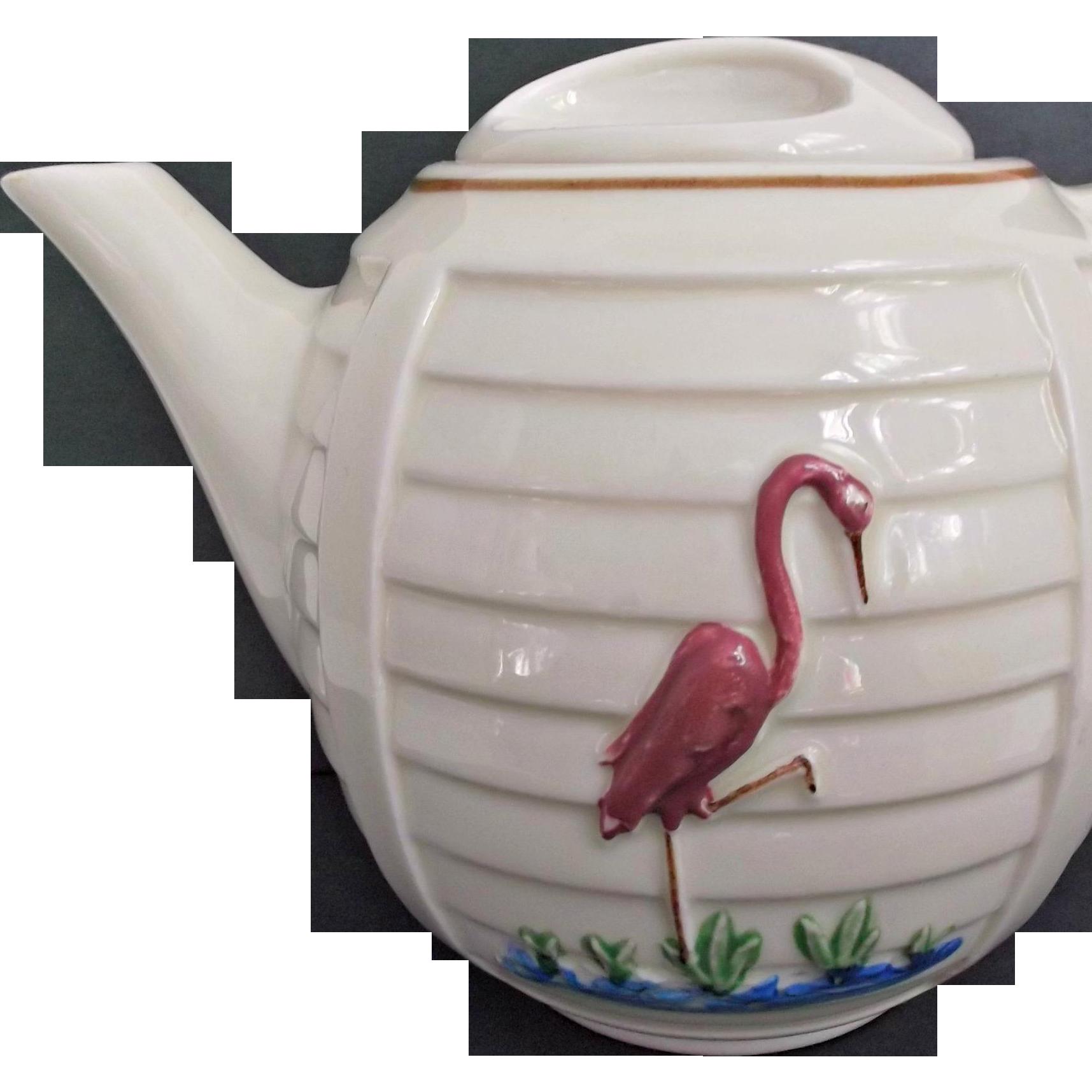 Porcelier Vintage Tea Pot with Pink Pelican Green Grass Blue Water