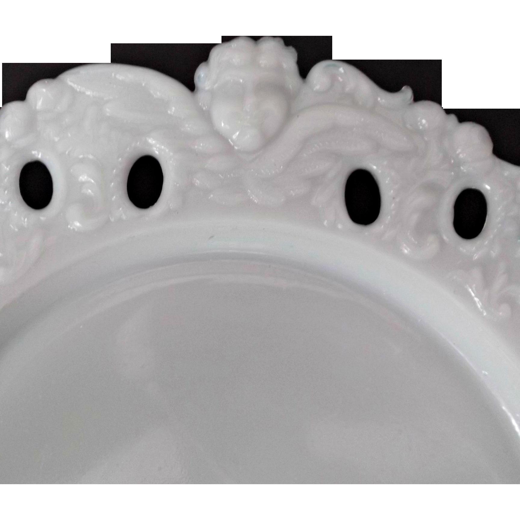 Vintage Milk Glass Angel Head Border Plate