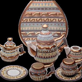 Vintage Cracker Barrel Easter Tea Set 1997 for Doll Display