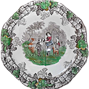 Copeland Spode's Byron Vintage Octagon Plate Brown Transferware Grapes Trellis