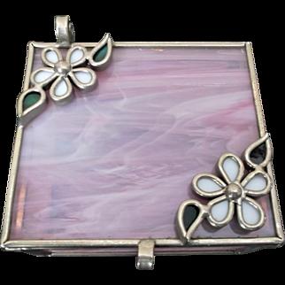 Vintage Collectible Pink Slag Glass Box Casket Jewelbox Vanity Flowers