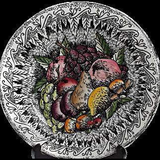 Black Transfer Polychrome Fruit Plate Vintage Royal Staffordshire Ceramics