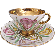Vintage Rosina Bone China Cup Saucer Crocus Tulips England Yellow Pink Lavender