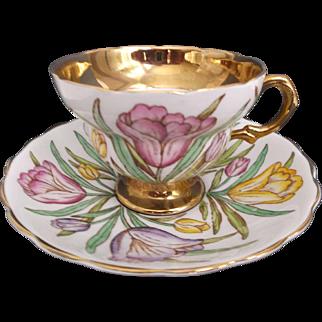 Vintage Rosina Bone China Cup Saucer Tulips England Yellow Pink Lavender