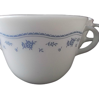 Pyrex Corning Vintage Morning Blue White Glass Cups Coffee Tea 3