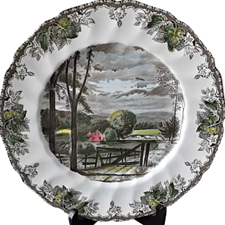 Johnson Brothers Friendly Village Plate The Hayfield Vintage Brown Transfer