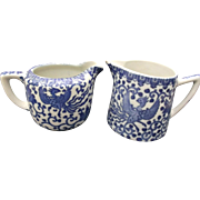 Phoenix Bird Blue White Transfer Creamer Pair Flying Turkey Nippon