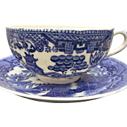 Blue Willow Porcelain Cup Saucer Set 3 Vintage Japan Blue and White