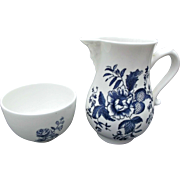Royal Worcester Cream Sugar Vintage Bone China Blue Sprays