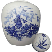 Ginger Jar Dutch Windmills Tulip Porcelain Vintage Delft Blue Transfer