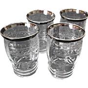 MacBeth Evans Stippled Rose Band Glass Tumblers Silver Trim S Pattern