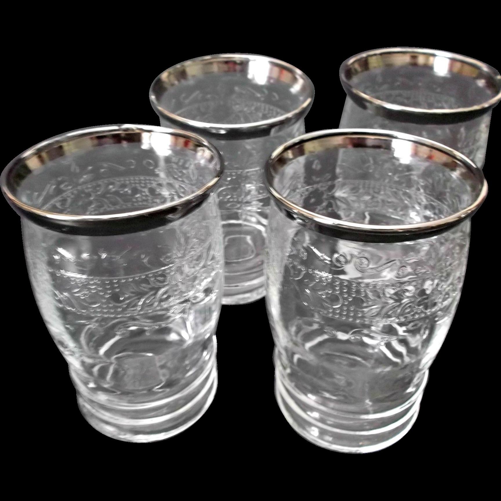 MacBeth Evans Stippled Rose Band Glass Tumblers Silver Trim S Pattern