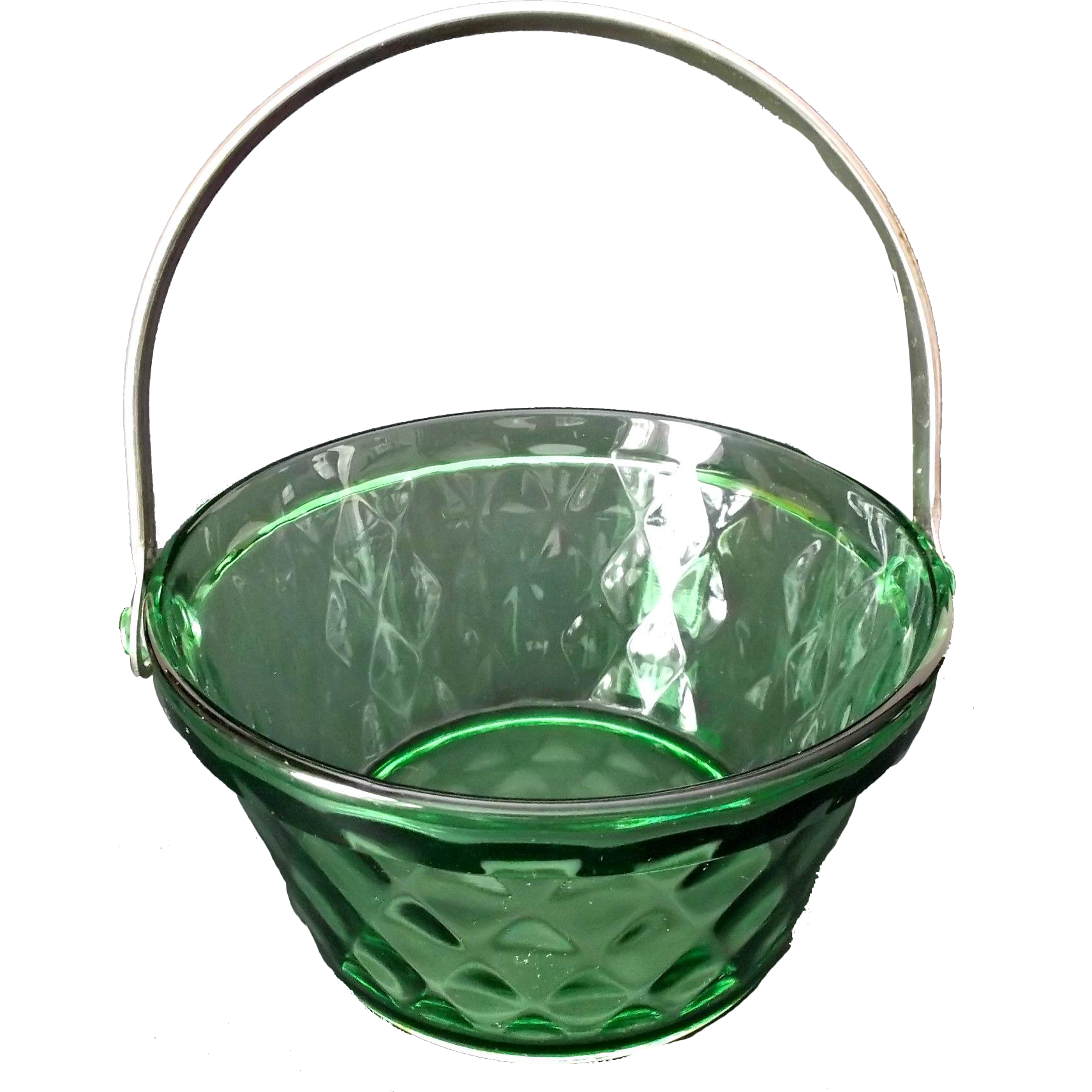 Green Glass Ice Pail Butter Tub Whipped Cream Pail Diamond Pattern