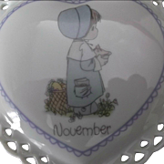 Enesco Precious Moments Heart Shaped Porcelain Box Vintage 1988