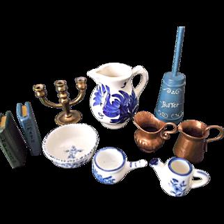Miniature Vintage Doll House Accessories Flow Blue Copper Pitchers Brass Candelabra