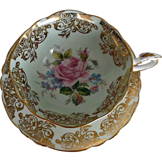Paragon Vintage Cup Saucer Mint Green Pink Rose Gold Floral Scroll Fine China