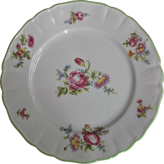 Limoges Wm. Guerin Plate Flowers Pink Blue Yellow Green Vintage China