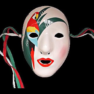 Ceramic Wall Face Mask Lady with Parrot Vintage Vandor 1985 Pelzman Designs