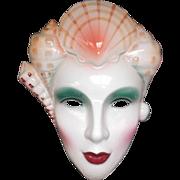 Vintage 1986 Ceramic Lady Face Mask with Seashells Vandor Pelzman Designs