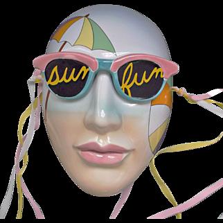 Vintage 1986 Ceramic Face Mask Lady in Sun Glasses Vandor Hand Decorated