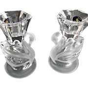 Lead Crystal Vintage Glass Swan Candlesticks Candle Holders