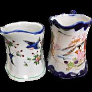 Pair of Vintage Blue White Creamers Pitchers Blue Birds Geisha Girls Japan