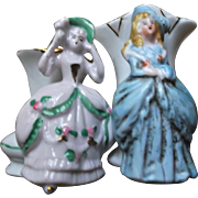 Pair of Vintage Porcelain Fairing Vases with Victorian Style Ladies Germany