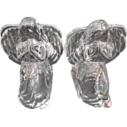 Pair of Lead Crystal Kneeling Angel Candle Holders Tea Lights Vintage