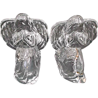 Pair of Lead Crystal Kneeling Angel Candle Holders Tea Lights Vintage