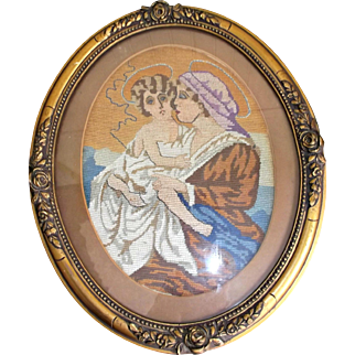 Gold Gilt Wood Framed Circa 1940's Needlepoint Mary with Young Jesus
