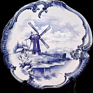 Antique Royal Bonn Germany Blue Delft Cabinet Plate Windmill