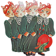 1984 Gift Tags Lady Cats Red Hat Bow Ribbons Die Cuts