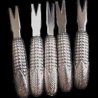 Vintage Silver Metal Corn Cob Holders Set of Five