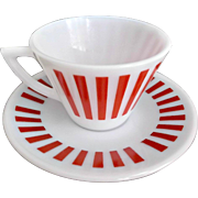 Hazel Atlas Glass Red White Candy Stripes Cup Saucer Set of Four 1950's